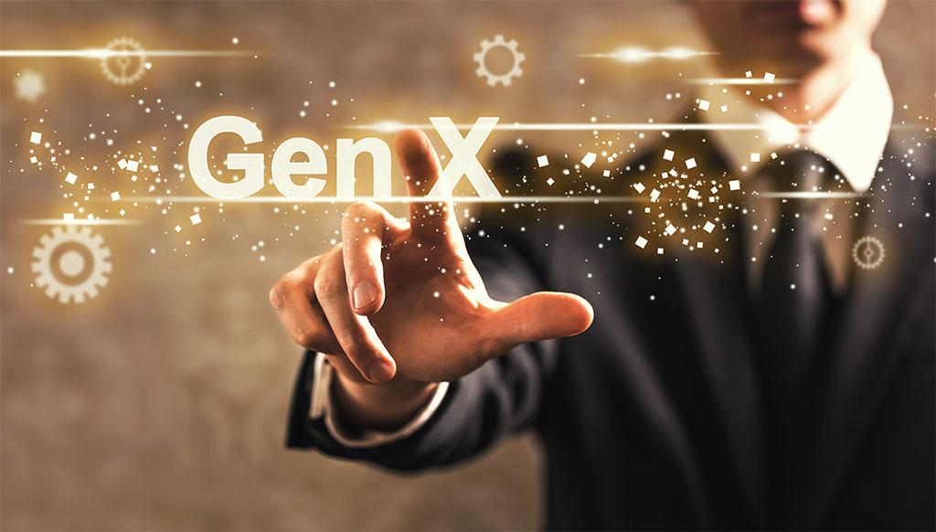 Gen X text with businessman on dark vintage background